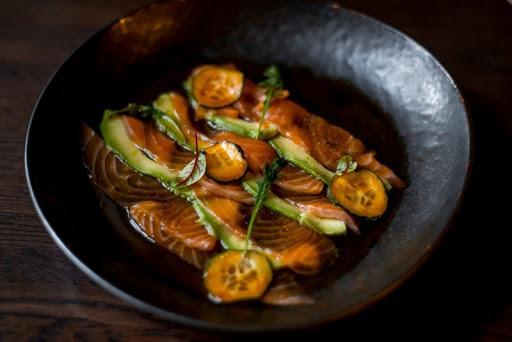 Карпаччо из лосося с соусом Понзу, порция общепит