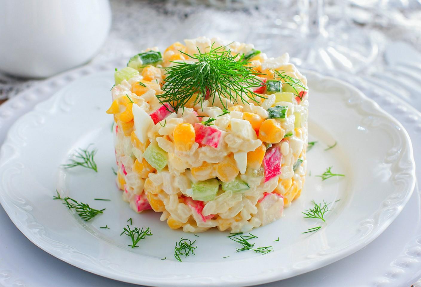 Салат Крабово-рисовый, 1 кг полуфабрикат кулинарный