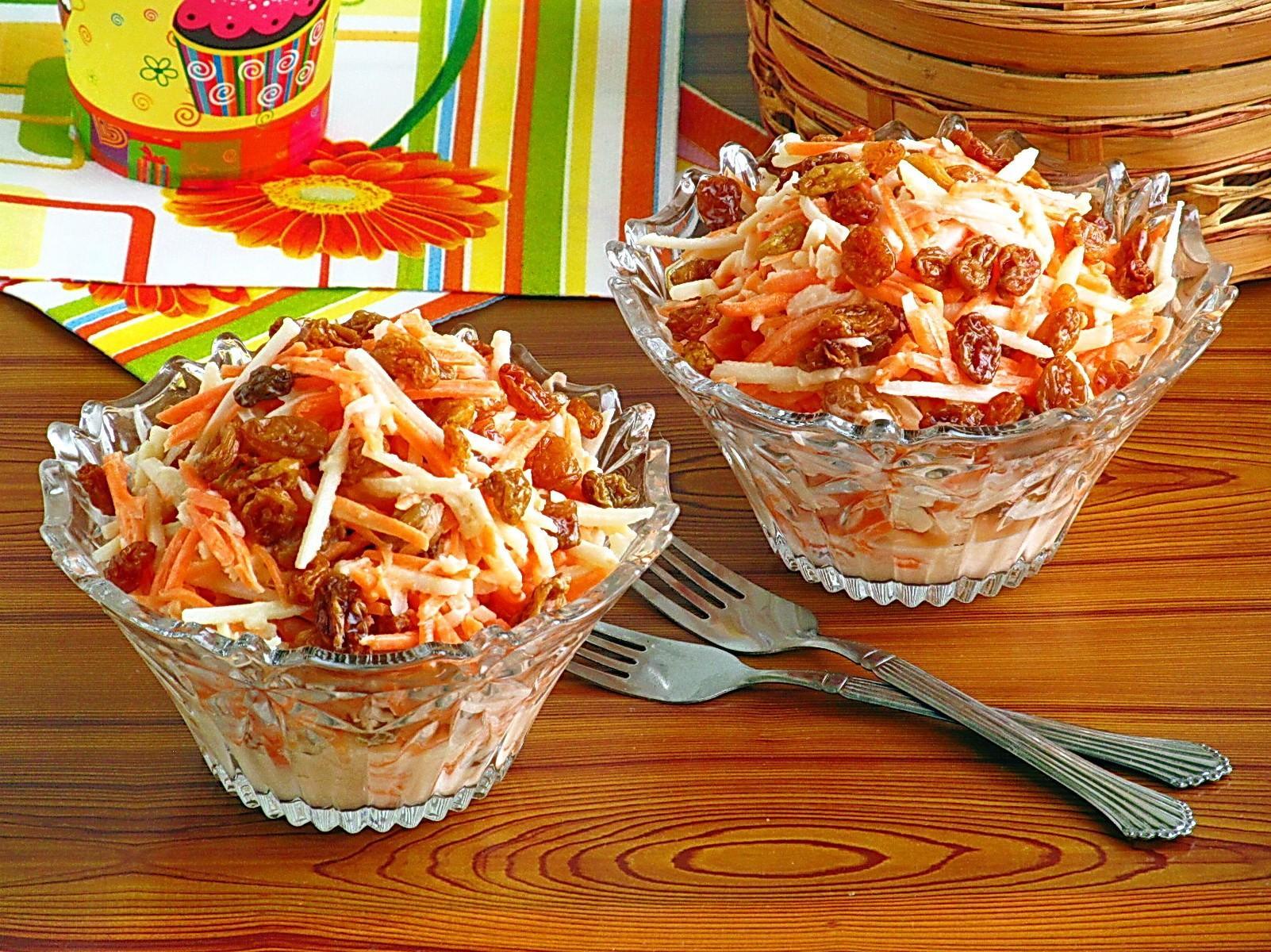 Салат из моркови с яблоком и изюмом, 1 кг полуфабрикат кулинарный
