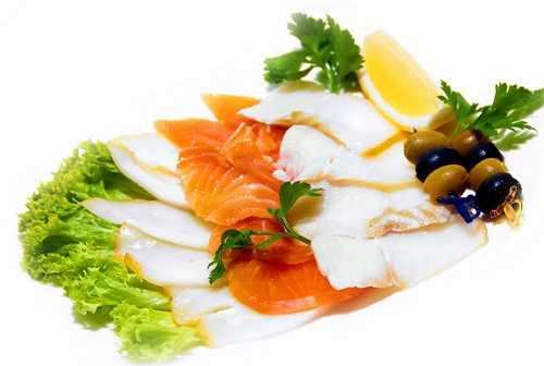 Рыбная тарелка (палтус х/к, масляная рыба х/к, лосось с/с)