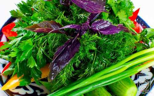 Тарелка свежих овощей и пряных трав