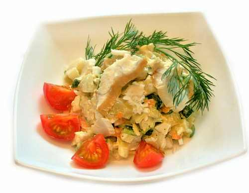 Рецептура блюда Салат рыбный деликатесный