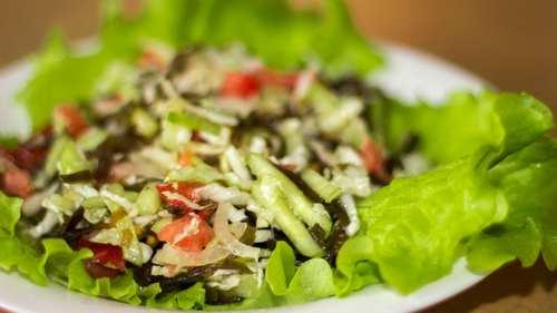 Рецептура блюда Салат из овощей с капустой морской