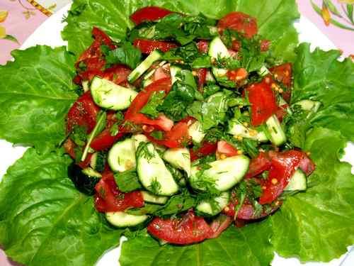 Рецептура блюда Салат зеленый с огурцами и помидорами