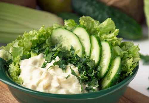 Рецептура блюда Салат зеленый с огурцами