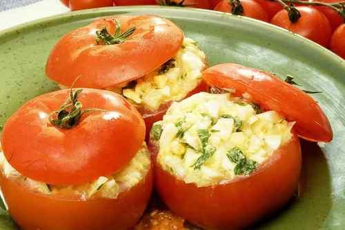 Рецептура блюда Помидоры, фаршированные яйцом и луком