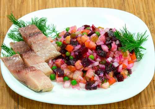 Рецептура блюда Винегрет с сельдью