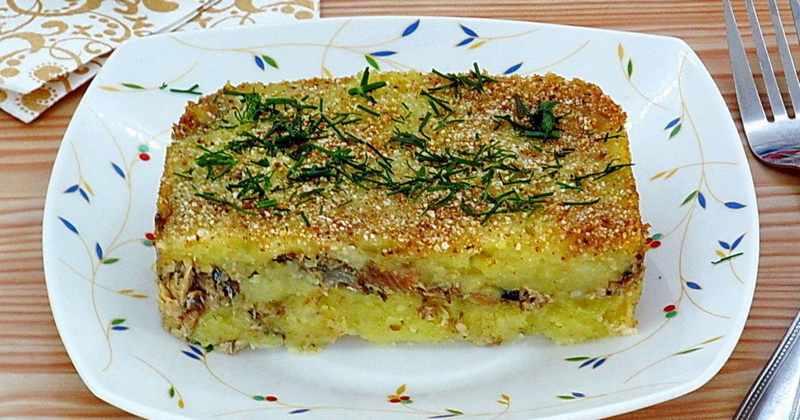 Рецептура блюда Картофельная запеканка с рыбными консервами