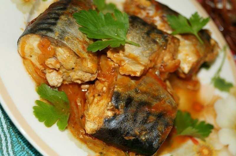 Рецептура блюда Консервы рыбные с гарниром